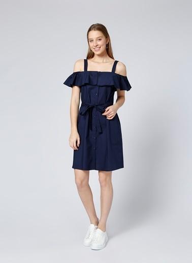 Limon Company Kayık Yaka Kısa Elbise Lacivert